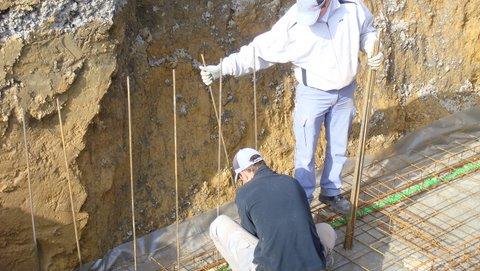 Mise en place du ferraillage des murs du bassin