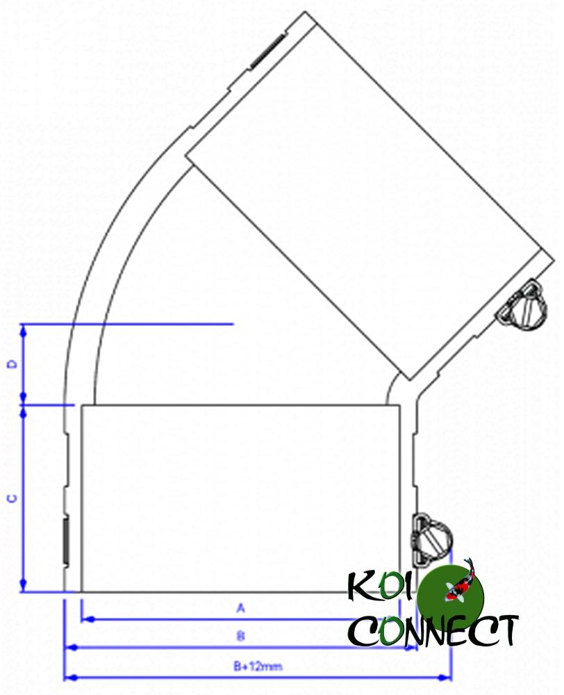 Plan coupe coude flex 45°